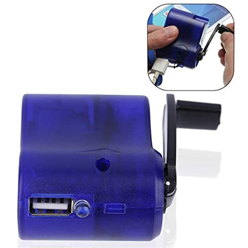 New Blue Plastic and Electronic Element USB Travel Emergency Phone Charger Dynamo Hand Manual Charger Blue