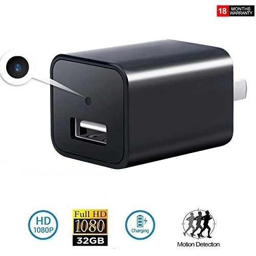 USB Wall Charger Hidden Spy Camera Adapter | Motion Detection Wall Nanny Spy Camera Adapter | 32G Inside Loop Recording