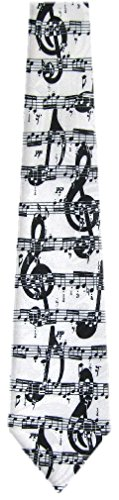 MN-316 - Mens Novelty Musical Notes Necktie - White Black