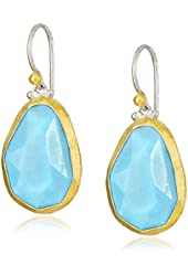 GURHAN Elements Sterling Silver, Gold, and Turquoise Dangle Earrings