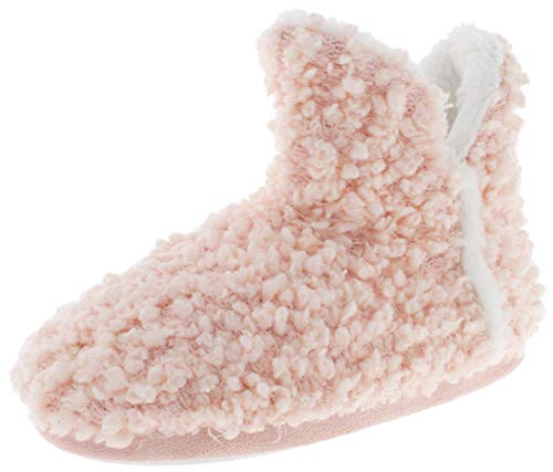 Capelli New York Ladies Popcorn Knit Bootie with Faux Fur Trim Blush Large