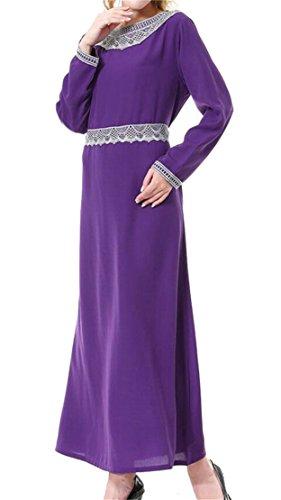Dentelle Arabe Domple Femmes Musulmanes Caftan Impression Robe Maxi Col Rond Violet