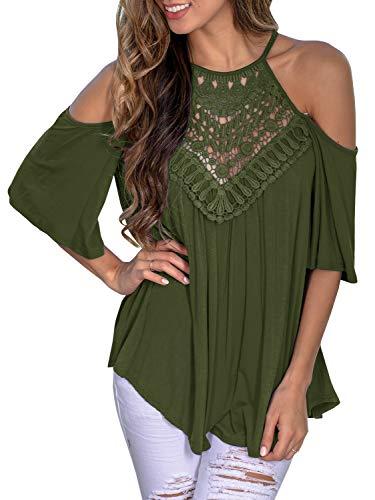 Womens Sleeveless Floral Crochet Tunic Summer Halter Lace Swing Shirts Tank Tops (Medium, Z-Green)