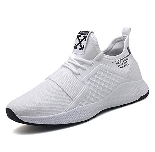 Men's Shoes Trend Hip-Hop Casual Sneakers Street Men's Running Shoes,White,42 by HDWY