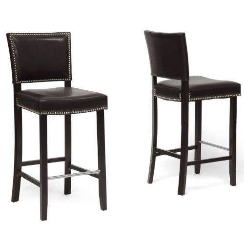 - Baxton Studio Aries Modern Bar Stool with Nail Head Trim, Dark Brown, Set of 2