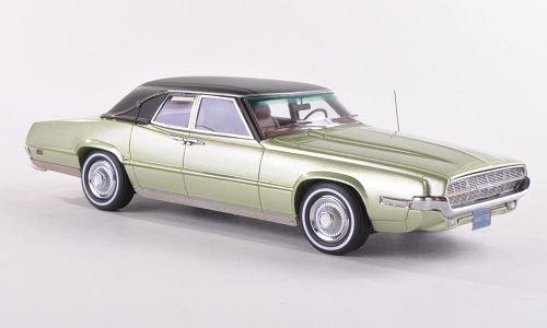 Black Thunderbird Model - Ford Thunderbird Landau, metallic-hellgrün/matt-black, 1969, Model Car, Ready-made, Neo 1:43