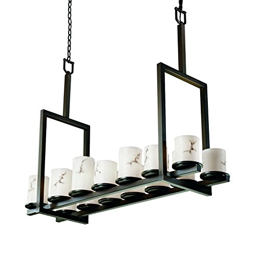 Justice Design Group Lighting FAL-8764-10-MBLK LumenAria Collection Dakota 14-Light Bridge Chandelier, Tall, 44