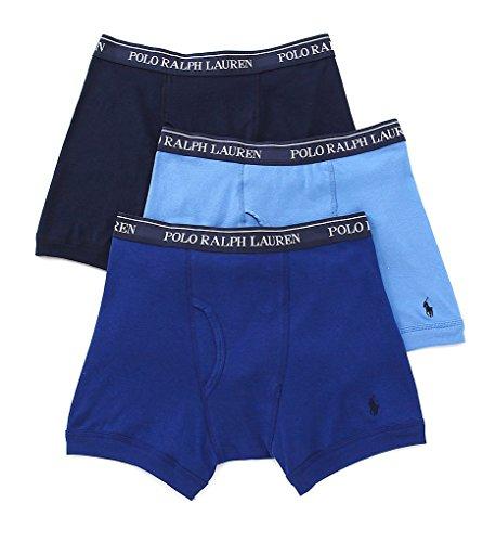 Polo Ralph Lauren Classic Cotton Boxer Brief 3 Pack  Xl  Blue Assorted