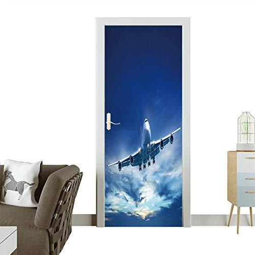 - Door Sticker Wall Decals Jet Aircraft in a Sky After The Sunset Square Composition in high Resolution. Easy to Peel and Stick W31 x H79 INCH