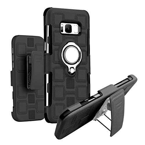 Lantier High Impact Three Layer Hybrid Full Shockproof Armor Rugged Holster Protection Case with Kickstand Magnet Supporter 360 Degree Rotating Ring Belt Swivel Clip for Samsung Galaxy S8 -