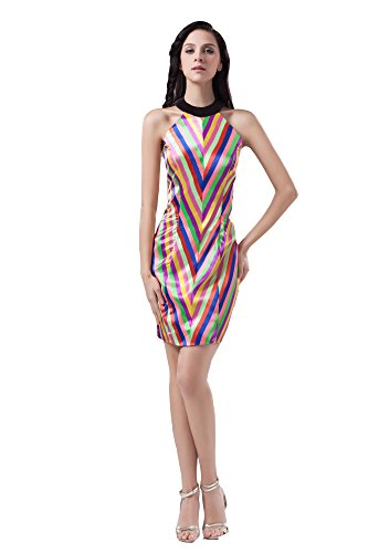 VogueZone009 Womens Halter Sleeveless Silk Pongee Formal Dress, ColorCards, 16 by VogueZone009