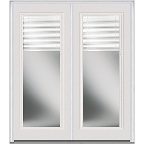National Door Company Z004410L Fiberglass Smooth Brilliant White Left Hand Prehung In-Swing Double Entry Door, Clear Glass with RLB, Full Lite, 64