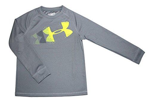 Under Armour Youth Boys Waffle Crew neck Shirt Long sleeve Big Logo Top (L 14/16, Grey)