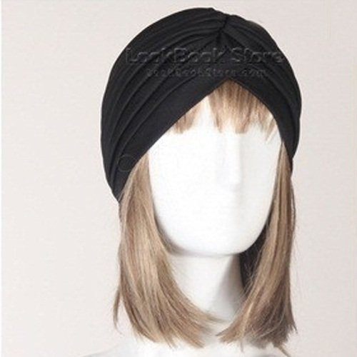 New Women Gathered Knot Pleated Rib Design Turban Headband Head Band Hat Holder, Black by Unknown