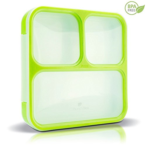 MUNCHBOX Bento Lunch Box - Sleek Edition (Green) Ultra-Slim Tray Leakproof 3-Compartment with Air Tight Seal Prevents from Mixing and Spilling - Microwavable Dishwasher Friendly For Kids & Adults.