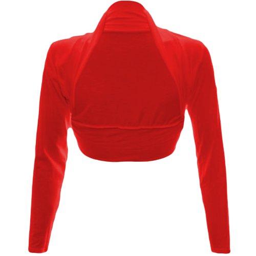 Fashion Wardrobe Womens Long Sleeve Boleros Shrugs Tops Ladies Casual Crop Cardigan Bolero Top ♥ (USA 6-8 / UK 6-10 (S/M), Red)