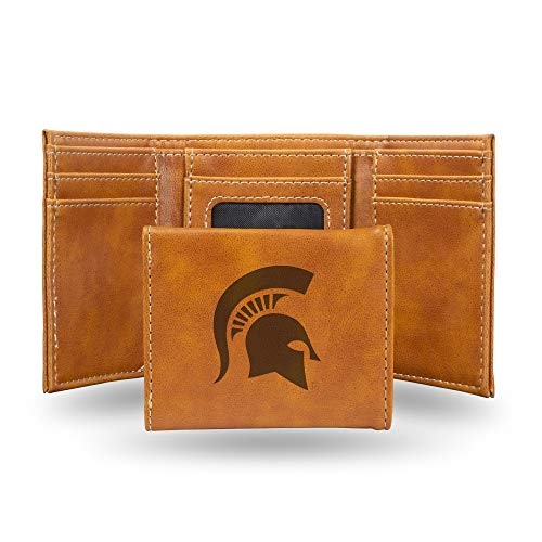 Rico Industries NCAA Michigan State Spartans Laser Engraved Tri-Fold Wallet, Brown