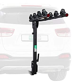 RaxGo Premium Hitch Mounted 4 – Bike Rack Carrier, Sturdy Bicycle Swing Away Rack Fits 2 Receiver Folding Design, Tilt Handle for Extra Convenience Transports Up To 132 Lbs. Easy Assembly