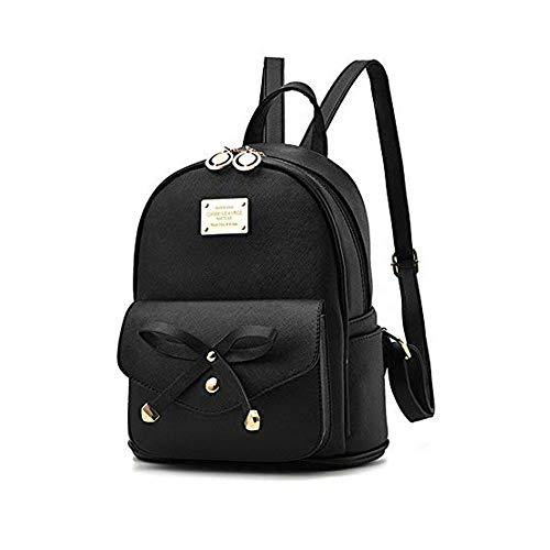 HIKTY Girls Bowknot Cute Mini Leather Backpack Purse Fashion Small Daypacks for Girls Women Black