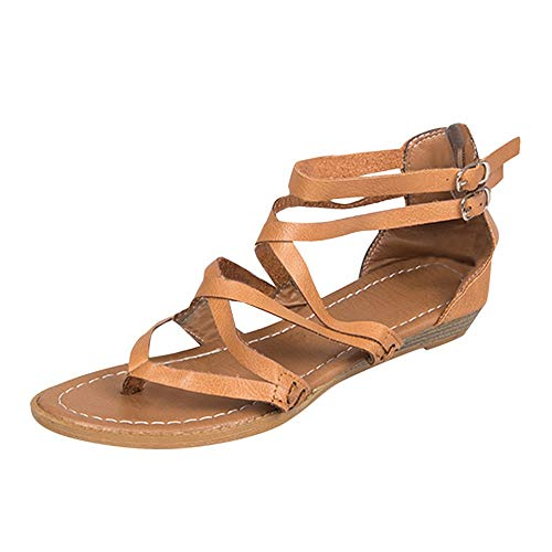 WKDYBD Hawaii Women Gladiator Strappy Flat Open Toe Lace Up Criss Cross Strap Ankle Wrap Summer Beach Flat Sandals Brown