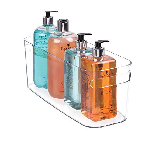 mDesign Bathroom Vanity Organizer Bin for Heath and Beauty Products/Supplies, Towels - 16 x 6 x 6, Clear