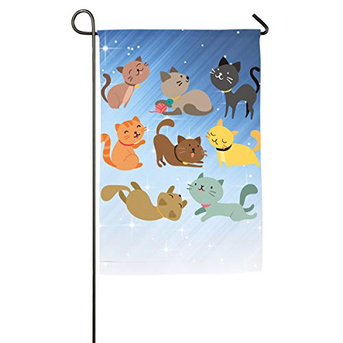 FOOOKL Cartoon Cat Home Family Party Flag 101 Hipster Welcomes The Banner Garden Flags