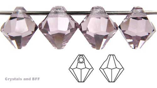 Machine Cut Bicone - 6mm Light Amethyst, Czech Machine Cut Top Drilled Bicone Pendant (6301 Shape), 12 pieces
