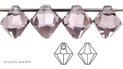 - 6mm Light Amethyst, Czech Machine Cut Top Drilled Bicone Pendant (6301 Shape), 12 pieces