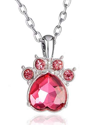 Crystal Rhinestone Pink Dog Claw Necklace Paw Birth Stone Pendant Women Animals Pet Lover Necklaces Jewelry Collar Gifts - Shipped from USA from Collectibles