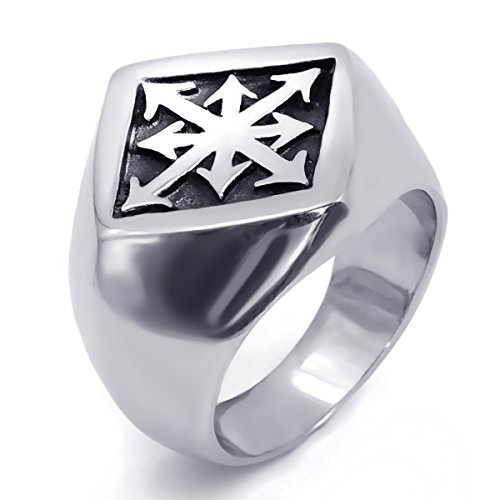 Elfasio Mens Boys Stainless Steel Ring Gothic Magic 8 Pointed Chaos Star Cross jewelry Size 8-12