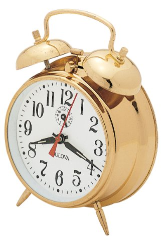 Bulova B8124 Bellman Clock, Brass Finish - Bell Key Wind Alarm Clock