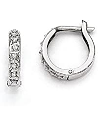 14k White Gold Diamond Fascination Round Hinged Hoop Earrings / Diamond Ctw. 0.01