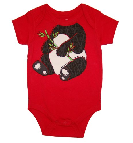Peek A Zoo Infant Baby Become an Animal Short Sleeve Onesie Bodysuit - Panda Red (0/6 Months) -