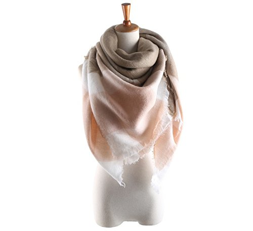 Women's Cozy Tartan Blanket Scarf Wrap Shawl Neck Stole Warm Plaid Checked Pashmina (Cream Color White) by Neal LINK