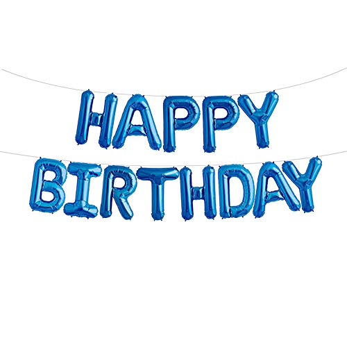 Uever Blue Happy Birthday Balloons, Happy Birthday Banner Foil Letter Balloons for Birthday Decorations and Party Supplies