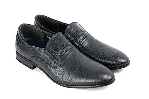 HOMBRE SIN CIERRES ELEGANTE Formal Zapatos Azul Marino