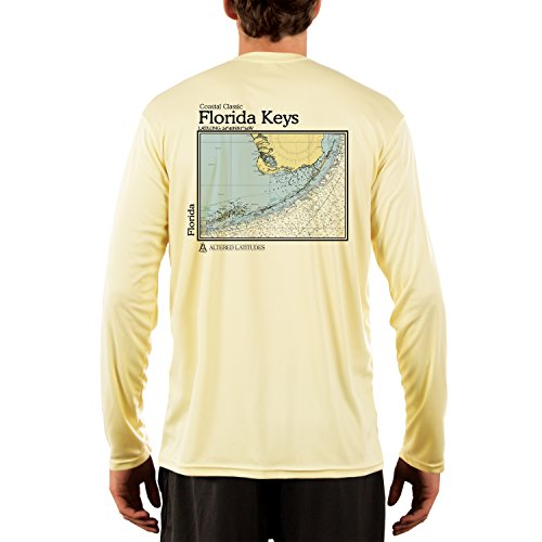 (Coastal Classics Florida Keys Chart Men's UPF 50+ Long Sleeve T-shirt Large Pale Yellow)