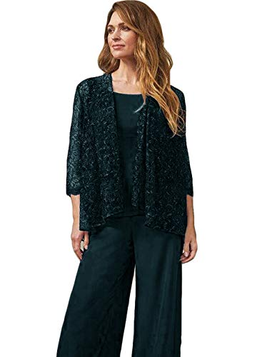 The Peachess Mother of The Bride Pant Suits Jewel Neck Chiffon Plus Size Long Sleeve Wedding Guest Dress with Jacket Teal