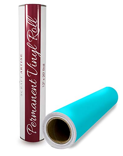 Scraft Artise Indoor Outdoor Permanent Adhesive Vinyl Roll Turquoise Matte 12 Inch by 20 Feet Compatible with Silhouette Cricut Brother Scan N Cut and Other Die Cutters to Make Monograms and Decals ()