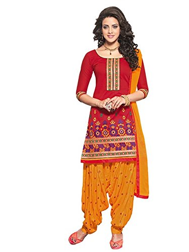 Vibes Women's Cotton Salwar Suit Dress Material – Free Size, Red