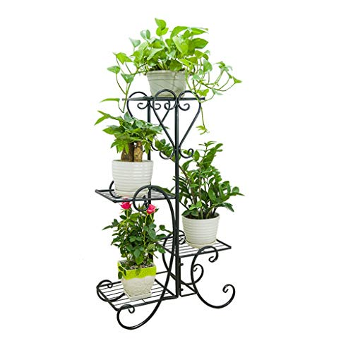 Metal Standing Plant Pot Rack with 4 Tier, Decorative Black Flower Display Stand Patio Garden Decor 31.119.39.4in