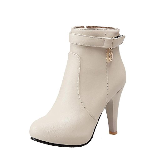 AmoonyFashion Closed Zipper Women's Heels Beige Boots Toe Round Top Material High Low Soft ttOzwqr