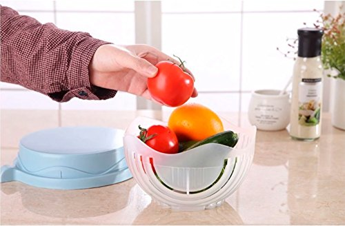 Salad Cutter Bowl + FREE 3 in 1 Avocado Peeler Tool  Fruit & Vegetable Quick Chopper Set, Veggie Slicer   Can Be used as Strainer and Cutting Board   Dishwasher Safe, BPA Free, Food Grade Material by toshi's kitchen (Image #2)