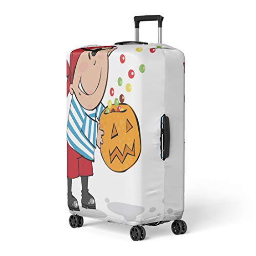 Pinbeam Luggage Cover Orange Costume Trick Treat Halloween Pirate Boy Autumn Travel Suitcase Cover Protector Baggage Case Fits 26-28 inches ()
