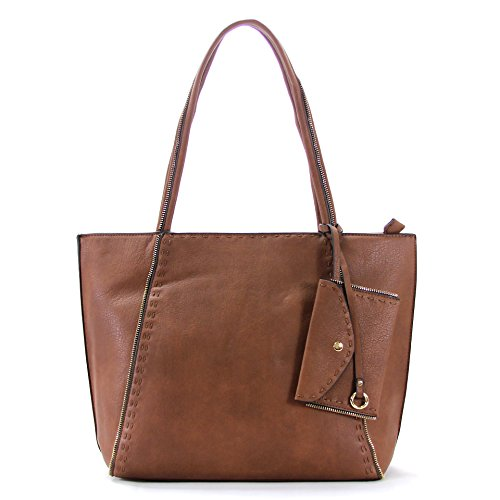 Robert Matthew Jordan Tote, tote bag for women,teens, girls - Tote with Wallet, Small tote, leather tote, travel tote, zipppered tote best leather tote bags ladies purse travel bag (Coffee)