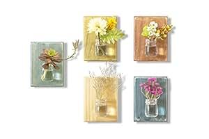 WOOD MEETS COLOR Hanging Vase On the Wall, A set of five Boards(Including Nails and Ropes, No Flower) (Navy Blue Original Orange Lemon)
