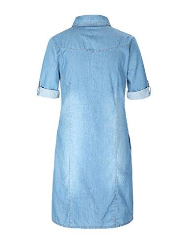 pour Chemise Casual Denim Robe Manche Baymate Chemise Femmes Bleu Demi txCUqwnPnd