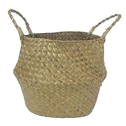 Amazon Com Zamtac Folding Seagrass Laundry Basket Rattan Flower