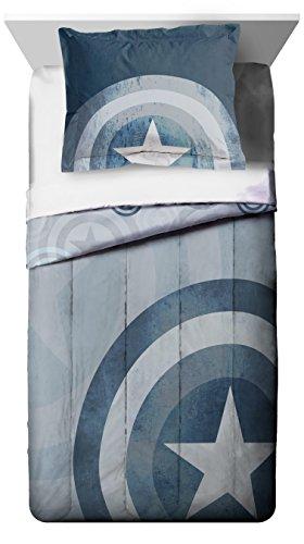 Marvel Captain America Lifestyle Shield Reversible Comforter & Sham, Twin/TXL