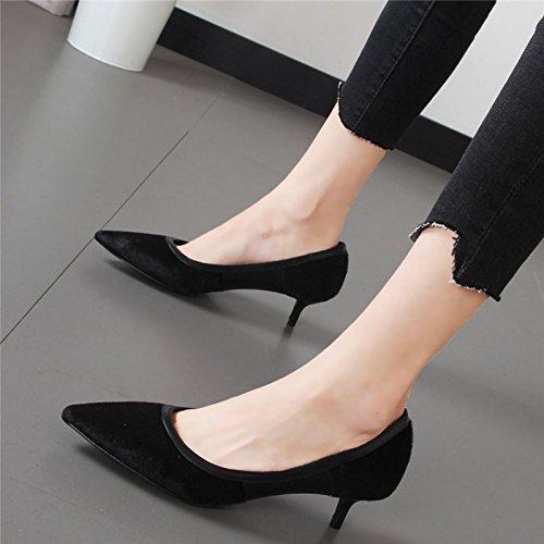Xue Qiqi Punta boca superficial solo zapatos elegantes con mujeres de color sólido negro zapatos cómodos marea salvaje Negro